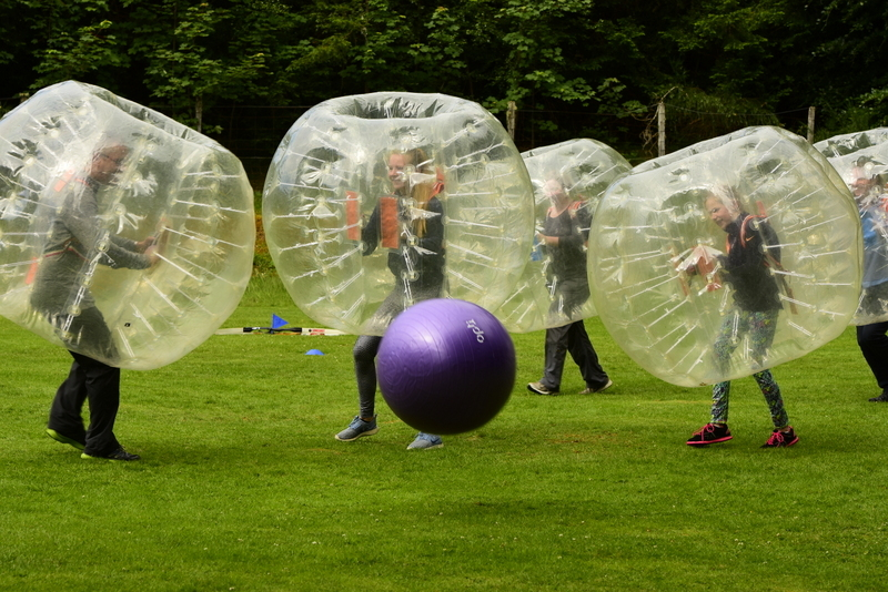 Bubble football being played at Fairburn.