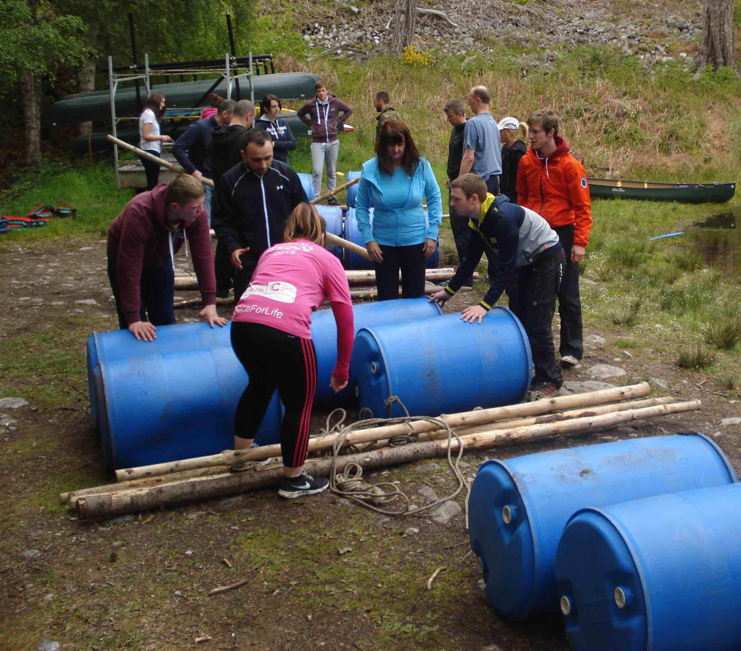 school group collect their rafting equipment at Fairburn