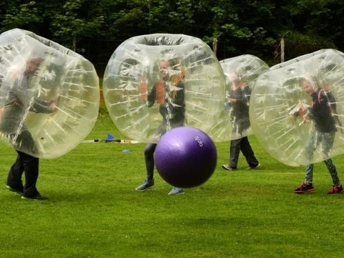 A great team challenge, with bubble football at Fairburn Activity Centre.