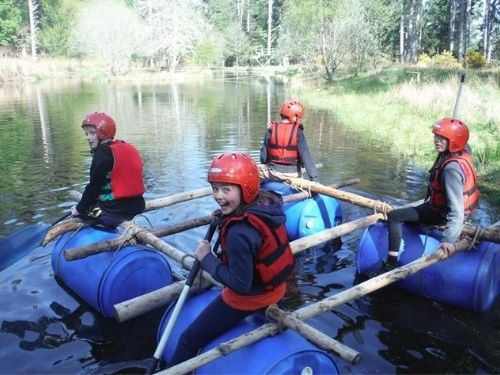 Kids enjoy a raft building birthday party at Fairburn activity centre.