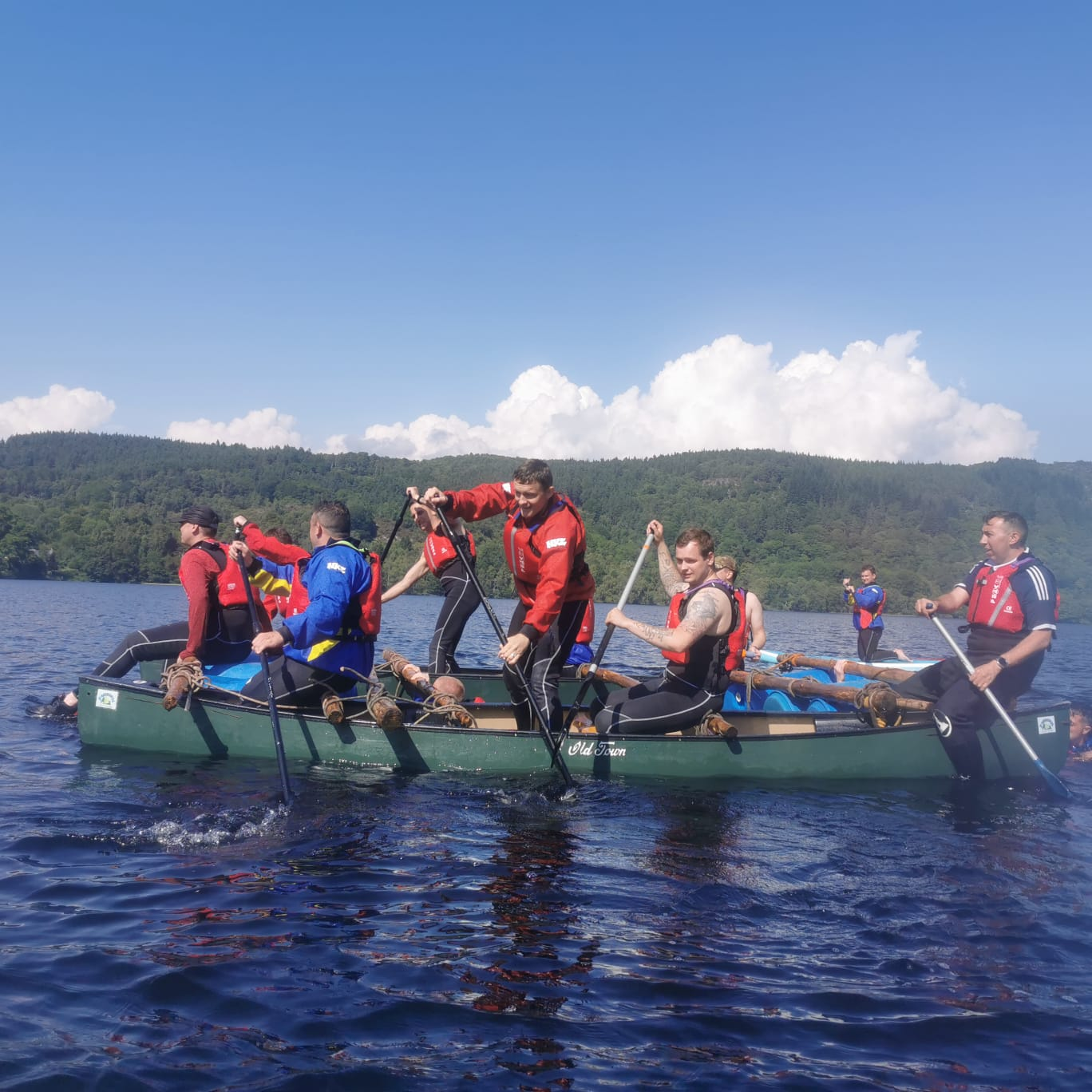 Improvised rafting at Loch Achilty with Fairburn activity centre.